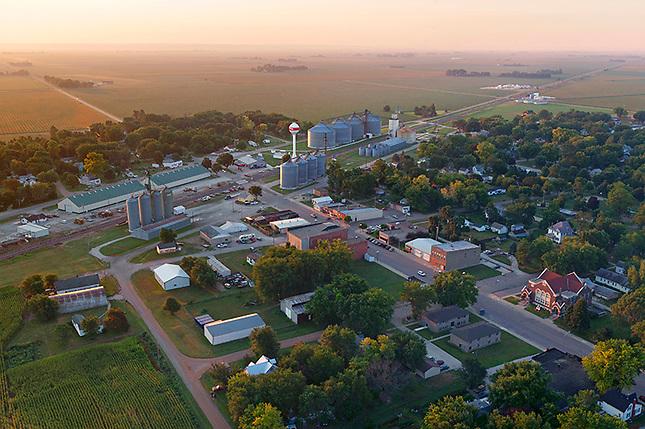 Prairie Farming Town in Early Morning