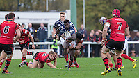 Matt Williams of London Scottish heads forward during the Greene King IPA Championship match between London Scottish Football Club and Jersey at Richmond Athletic Ground, Richmond, United Kingdom on 7 November 2015. Photo by Andy Rowland.