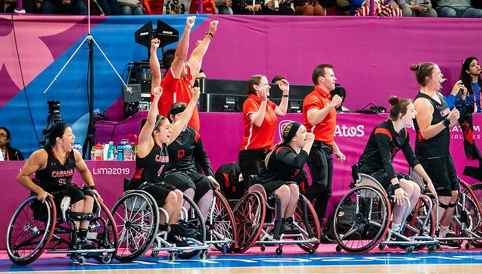 Lima 2019 - Wheelchair Basketball // Basketball en fauteuil roulant.<br /> Canada takes on the USA in the gold medal game in women's wheelchair basketball // Le Canada affronte les États-Unis dans le match pour la médaille d'or en basketball en fauteuil roulant féminin. 30/08/2019.