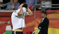 Wolfsburg , 100711 , FIFA / Frauen Weltmeisterschaft 2011 / Womens Worldcup 2011 , Viertelfinale ,  Deutschland (GER) - Japan (JPN) .Celia Okoyino Da Mbabi (GER) enttäuscht nach der 1:0 Niederlage gegen Japan , Deutschland ist aus der WM ausgeschieden .Foto:Karina Hessland .