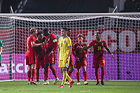 Belgian players celebrate the goal of Amadou Onana (6) of Belgium from penalty during a soccer game between the national teams Under21 Youth teams of Belgium and Kazakhstan on the third matday in group I for the qualification for the Under 21 EURO 2023 , on friday 8 th of october 2021  in Leuven , Belgium . PHOTO SPORTPIX | SEVIL OKTEM