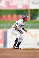 Lake County Captains pinch runner Will Benson (29) leads off second base during the first game of a doubleheader against the South Bend Cubs on May 16, 2018 at Classic Park in Eastlake, Ohio.  South Bend defeated Lake County 6-4 in twelve innings.  (Mike Janes/Four Seam Images)