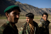 Afghan National Army Soldiers support F Company, 201st Brigade Support Battalion during a convoy to Forward Operating Bases along the Pesh Valley. The unit often get attacked by Taliban fighters along this valley as they attempt to re-supply several bases in this pro-Taliban region, which sees some of the heaviest fighting in Afghanistan.
