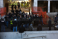 Matteo Salvini (Deputy Prime Minister & Minister of the Interior – Leader of the League - Lega).<br /> <br /> Rome, 10/12/2018. Today, the derelict former factory of the Penicillin in the east area of Rome was evicted and evacuated by a conspicuous number police officers in full riot gears (Polizia and Carabinieri) supported by fire fighters and the Rome municipal police. The abandoned and run-down factory once was home to an estimated 500 people, including migrants of different nationalities but also Italian families who lived in extreme poverty and poor hygienic and health conditions (presence of asbestos and others). The eviction, which saw the last 35 inhabitants took away on a bus by the police, was attended by the far-right leader of League (Lega), anti-immigration Minister of the Interiors and Deputy Prime Minister, Matteo Salvini. A group of protesters and activists held a rally against the eviction without a plan to rehouse the people of the Ex Penicillin but it was kept away from the main gate of the raw-concrete skeleton building.<br /> On the same day the 70th Anniversary of the Universal Declaration of Human Rights (UDHR, 1.), was marked outside the Colosseum projecting the Article 1 of the Declaration on the Historic symbol of Rome: <<All human beings are born free and equal in dignity and rights. They are endowed with reason and conscience and should act towards one another in a spirit of brotherhood>> (2.).<br /> <br /> 1. http://www.un.org/en/udhrbook/pdf/udhr_booklet_en_web.pdf<br /> 2. See my Story here: https://bit.ly/2PyLWeK