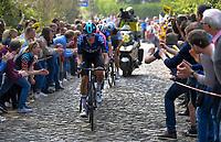 Dylan van Baarle (NED/SKY) up the Taaienberg<br /> <br /> 103rd Ronde van Vlaanderen 2019<br /> One day race from Antwerp to Oudenaarde (BEL/270km)<br /> <br /> ©kramon