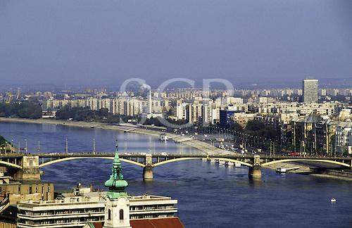 Budapest, Hungary. Margit (Margaret) Bridge and the city beyond.