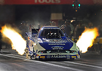 Sept. 3, 2011; Claremont, IN, USA: NHRA funny car driver Robert Hight during qualifying for the US Nationals at Lucas Oil Raceway. Mandatory Credit: Mark J. Rebilas-