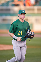 Beloit Snappers first baseman Nick Osborne (21) jogs off the field between innings of a Midwest League game against the Lansing Lugnuts at Cooley Law School Stadium on May 4, 2019 in Lansing, Michigan. Beloit defeated Lansing 2-1. (Zachary Lucy/Four Seam Images)