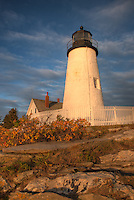 Pemaquid Point Lighthouse in warm light just after sunrise, Bristol, Maine