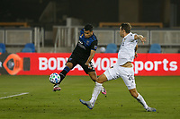SAN JOSE, CA - SEPTEMBER 13: Nick DePuy #20 of the Los Angeles Galaxy attempts to block the pass of Andy Rios #25 of the San Jose Earthquakes during a game between Los Angeles Galaxy and San Jose Earthquakes at Earthquakes Stadium on September 13, 2020 in San Jose, California.