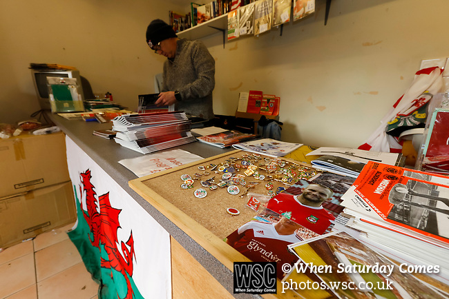 Wrexham 2 Ebbsfleet United 0, 18/11/2017. The Racecourse Ground, National League. A pop up programme shop between the Turf Pub and the the Mold Road Stand. Photo by Paul Thompson.