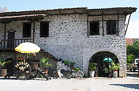 The outside and the entrance of the restaurant. Tradita traditional restaurant, Shkodra. Albania, Balkan, Europe.