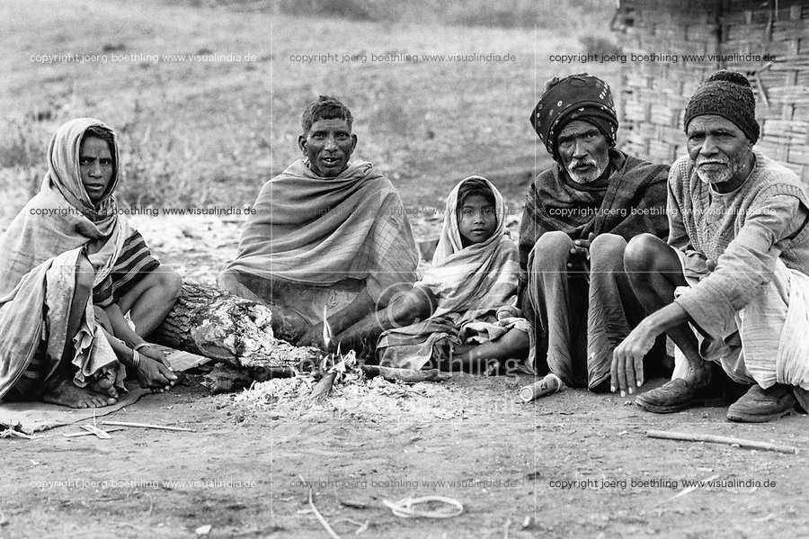 India, Narmada River, Narmada dams and protest movement of NBA Narmada Bachao Andolan, movement to save the Narmada river, and affected Adivasi in their villages, village Manibeli, remaining family is resisting displacement, February 1994
