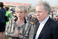 Quebec Minister of Transport Julie Boulet and Quebec Premier Jean Charest before the Ride in Silence event in Quebec City May 19, 2010. Ride in Silence is a worldwide event being held tonight to honor those injured or killed while cycling on public roads.<br /> <br /> PHOTO :  Francis Vachon - Agence Quebec Presse