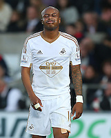 Andre Ayew of Swansea City shows a look of frustration during the Barclays Premier League match between Swansea City and Arsenal played at The Liberty Stadium, Swansea on October 31st 2015