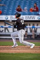 Charlotte Knights Matt Skole (21) at bat during an International League game against the Syracuse Mets on June 11, 2019 at NBT Bank Stadium in Syracuse, New York.  Syracuse defeated Charlotte 15-8.  (Mike Janes/Four Seam Images)
