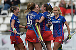 GER - Mannheim, Germany, October 09: During the women hockey match between Mannheimer HC (blue) and Ruesselsheimer RK (red) on October 9, 2016 at Mannheimer HC in Mannheim, Germany. Final score 6-0 (HT 1-0). (Photo by Dirk Markgraf / www.265-images.com) *** Local caption *** Cecile Pieper #3 of Mannheimer HC, Nike Lorenz #16 of Mannheimer HC, Nikki Kidd #26 of Mannheimer HC, Flor Habif #18 of Mannheimer HC, Lydia Haase #12 of Mannheimer HC