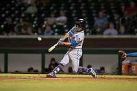 Scottsdale Scorpions shortstop Andres Gimenez (13), of the New York Mets organization, hits a home run during an Arizona Fall League game against the Mesa Solar Sox at Sloan Park on October 10, 2018 in Mesa, Arizona. Scottsdale defeated Mesa 10-3. (Zachary Lucy/Four Seam Images)