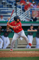 State College Spikes Stanley Espinal (21) at bat during a NY-Penn League game against the Batavia Muckdogs on July 2, 2019 at Dwyer Stadium in Batavia, New York.  Batavia defeated State College 1-0.  (Mike Janes/Four Seam Images)