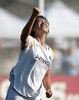 24 May 2009: Han Duan of the Los Angeles Sol celebrates after scoring a goal during the second half of the game against FC Gold Pride at Buck Shaw Stadium in Santa Clara, California.  Los Angeles Sol defeated FC Gold Pride, 2-0.