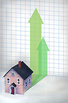 Illustrative image of house and upward arrows representing price rise