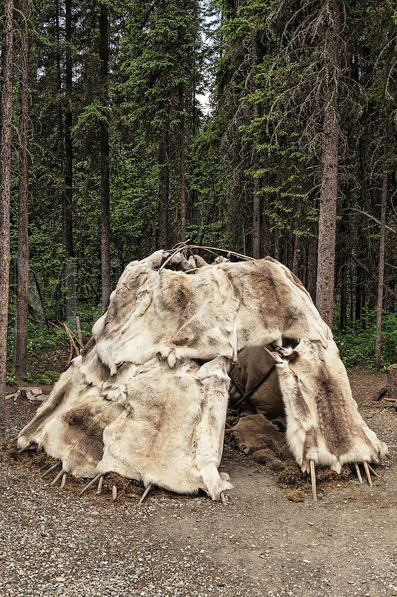 Traditional Athabascan shelter, Chena Indian Village, Alaska