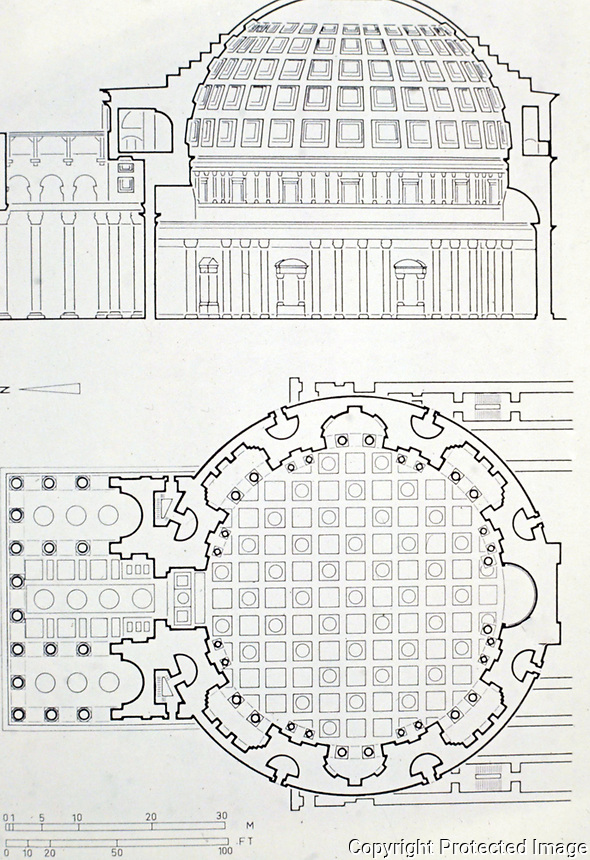 Section and floor plan of the Pantheon, Rome Italy, 118-125 CE