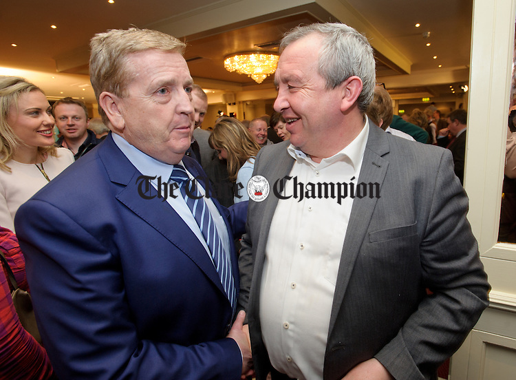 """Pat Breen, Fine Gael, with Michael """"Malty"""" Mc Donagh, Fianna Fail, at theGE2016 count in Ennistymon. Photograph by John Kelly."""