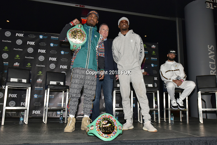 BROOKLYN, NY - DECEMBER 20: Boxers Jermell Charlo and Tony Harrison pose on stage as they attend the Premier Boxing Champions press conference for the December 22 Fox PBC Fight Night at the Barclay Center on December 20, 2018 in Brooklyn, New York. (Photo by Anthony Behar/Fox Sports/PictureGroup)