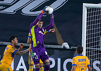 22nd December 2020, Orlando, Florida, USA;  Tigres Nahuel Guzman (1) makes a save during the Concacaf Champions League Final between the LAFC and Tigres on December 22, 2020 at Explorer Stadium in Orlando, FL.
