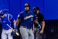 25 March 2019: Milwaukee Brewers first baseman Jesus Aguilar at bat during an exhibition game against the Toronto Blue Jays at Olympic Stadium in Montreal, Quebec, Canada. The Brewers defeated the Blue Jays 10-5 in the first of two MLB pre-season games in the former home of the Montreal Expos. Mandatory Credit: Ed Wolfstein Photo *** RAW (NEF) Image File Available ***