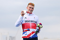 29th August 2021; Tokyo, Japan; George Peasgood (GBR), <br /> Triathlon : Men's  PTS5 Medal Ceremony during the Tokyo 2020 Paralympic Games at the Odaiba Marine Park in Tokyo, Japan.