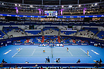 A genearl view of the stadium during the doubles Round Robin match of the WTA Elite Trophy Zhuhai 2017 between Alicja Rosolska of Poland and Anna Smith of Great Britain, and Jing-Jing Lu and Shuai Zhang of China at Hengqin Tennis Center on November  01, 2017 in Zhuhai, China.Photo by Yu Chun Christopher Wong / Power Sport Images