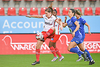 Essevee's Anne-Lore Scherrens pictured in a fight for the ball with Gent's Elise Meijerinck (23)  during a female soccer game between Zulte Waregem and the KAA Gent Ladies on the fourth matchday of the 2020 - 2021 season of Belgian Scooore Womens Super League , saturday 10 October 2020  in Waregem , Belgium . PHOTO SPORTPIX.BE | SPP | DAVID CATRY
