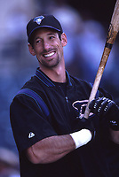 Luis Gonzalez of the Arizona Diamondbacks during a 2001 season MLB game at Angel Stadium in Anaheim, California. (Larry Goren/Four Seam Images)