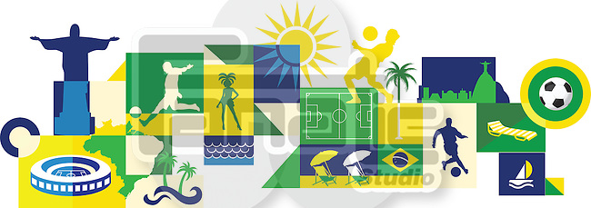 Illustrative collage of sports and attractions in Brazil