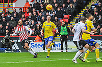 Sheffield United's forward David McGoldrick (17) curls a shot wide of the post during the Sky Bet Championship match between Sheff United and Leeds United at Bramall Lane, Sheffield, England on 1 December 2018. Photo by Stephen Buckley / PRiME Media Images.