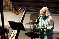 USA International Harp Competition Founder and Artistic Director Susann McDonald speaks during the Composition Forum at the 11th USA International Harp Competition at Indiana University in Bloomington, Indiana on Monday, July 8, 2019. (Photo by James Brosher)