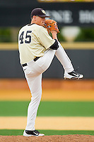 Wake Forest Demon Deacons starting pitcher Brian Holmes #45 in action against the Florida State Seminoles at Wake Forest Baseball Park on March 25, 2012 in Winston-Salem, North Carolina.  The Demon Deacons defeated the Seminoles 7-5.  (Brian Westerholt/Four Seam Images)