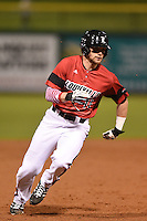 Louisville Cardinals infielder Zach Lucas (11) running the bases during a game against the USF Bulls on February 14, 2015 at Bright House Field in Clearwater, Florida.  Louisville defeated USF 7-3.  (Mike Janes/Four Seam Images)