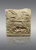 Picture & image of Hittite relief sculpted orthostat stone panel of Long Wall Basalt, Karkamıs, (Kargamıs), Carchemish (Karkemish), 900 - 700 BC. Anatolian Civilizations Museum, Ankara, Turkey.<br /> <br /> Chariot. One of the two figures in the chariot holds the horse's headstall while the other throws arrows. There is a naked enemy with an arrow in his hip lying face down under the horse's feet. It is thought that this figure is depicted smaller than the other figures since it is an enemy soldier. The tower part of the orthostat is decorated with braiding motifs.<br /> <br /> On a gray background.