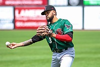 Great Lakes Loons third baseman Jared Walker (3) warms up in the outfield prior to a Midwest League game against the Wisconsin Timber Rattlers on May 12, 2018 at Fox Cities Stadium in Appleton, Wisconsin. Wisconsin defeated Great Lakes 3-1. (Brad Krause/Four Seam Images)