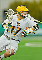 24 April 2012: University of Vermont Catamount Attackman Drew Philie, a Junior from Sandwich, MA, in action against the Dartmouth College Big Green at Virtue Field in Burlington, Vermont. The Catamounts fell to the visiting Big Green 10-5 in Men's Varsity Lacrosse action. Mandatory Credit: Ed Wolfstein Photo