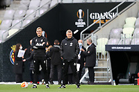 25th May 2021; Gdansk, Poland; Manchester United training at the Stadion Energa Gdańsk prior to their Europa League final versus Villarreal on May 26th;  OLE GUNNAR SOLSKJAER chats tactics with assistant Darren Fletcher