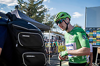 Green Jersey Sam Bennett (IRE/Deceuninck-Quick Step) backstage behind the finish podium<br /> <br /> Stage 11 from Châtelaillon-Plage to Poitiers (168km)<br /> <br /> 107th Tour de France 2020 (2.UWT)<br /> (the 'postponed edition' held in september)<br /> <br /> ©kramon