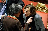 ANNA FINOCCHIARO ED ELSA FORNERO.Roma 22/12/2011 Senato. Voto di Fiducia sulla Manovra Economica.Votation at Senate about austerity plan. .Photo Samantha Zucchi Insidefoto