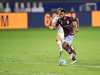 CARSON, CA - SEPTEMBER 19: Kellyn Acosta #10 of the Colorado Rapids dribbles with the ball during a game between Colorado Rapids and Los Angeles Galaxy at Dignity Heath Sports Park on September 19, 2020 in Carson, California.