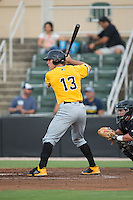 Michael Suchy (13) of the West Virginia Power at bat against the Kannapolis Intimidators at Intimidators Stadium on July 2, 2015 in Kannapolis, North Carolina.  The Power defeated the Intimidators 5-1.  (Brian Westerholt/Four Seam Images)