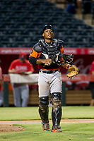 AZL Giants catcher Andres Angulo (1) on defense during a game against the AZL Angels on July 9, 2017 at Diablo Stadium in Tempe, Arizona. AZL Giants defeated the AZL Angels 8-4. (Zachary Lucy/Four Seam Images)