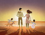 Illustration of family and pet on beach at sunset